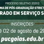 Aberta inscrição para seleção discente do Mestrado em Serviço Social da PUC Goiás