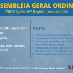 CRESS Goiás convoca 2ª Assembleia Geral Ordinária do ano de 2018