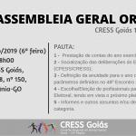 CRESS Goiás convoca 2ª Assembleia Geral de 2019