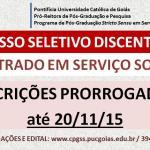 Inscrições para mestrado em serviço social prorrogadas