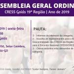 1ª Assembleia Geral do CRESS Goiás em de 2019 é dia 5 de julho