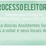Lista dos/as Assistentes Sociais aptos/as a votar e seus locais de votação.