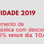 Anuidade 2019: pagamento de cota única com desconto de 15% vence dia 10/02