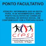 Dia 16 é ponto facultativo no CRESS Goiás